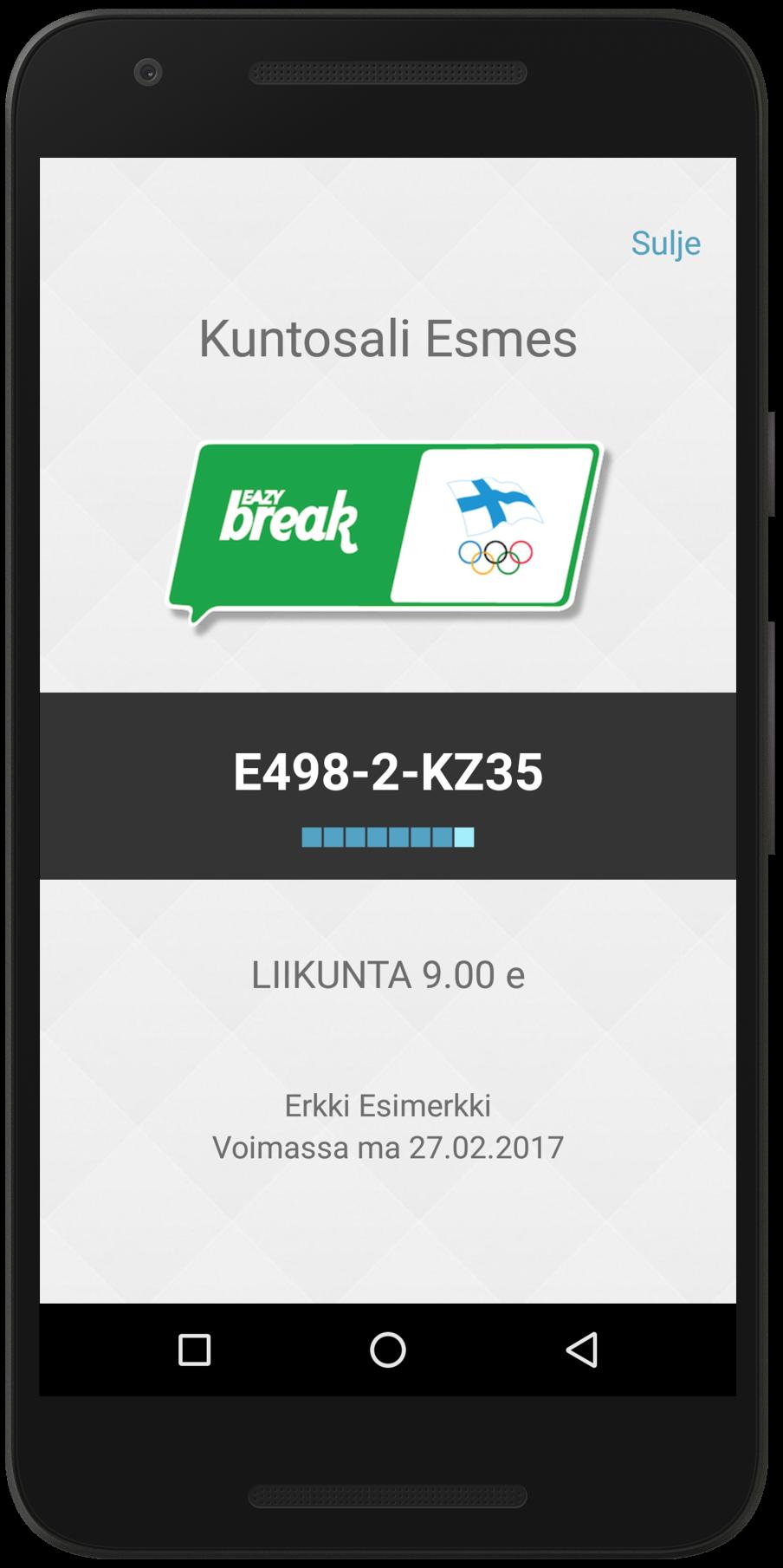 Eazybreak Liikuntaseteli Android-sovelluksessa