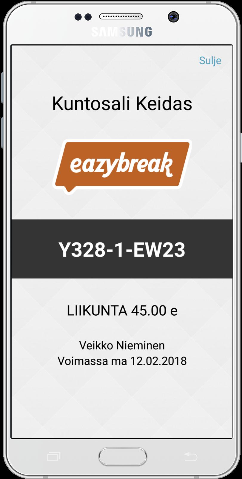 Eazybreak Liikuntaseteli iOS-sovelluksessa