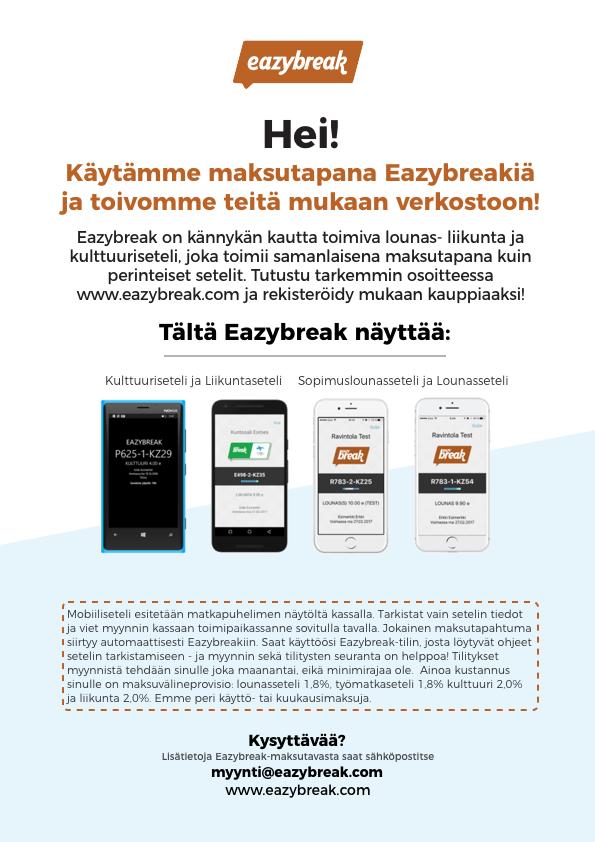 Eazybreak-maksaminen käyttöpaikassanne